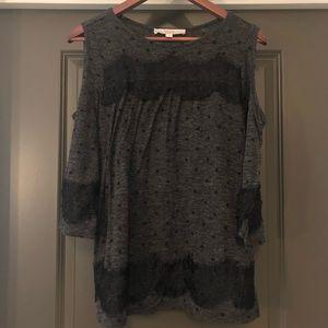 Loft Blouse Women's Size M Black and Gray